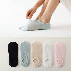 5 Pairs Summer Women Boat Socks Solid Color Mesh Invisible Socks Hollow Shallow Mouth Non-Slip Silicone Candy Color Female Socks