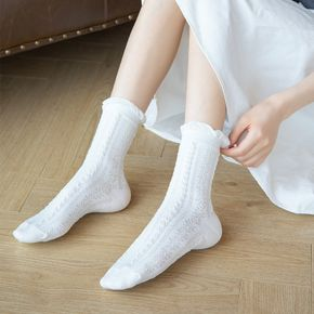 2-piece Lace White Breathable Tube Socks for Ladies