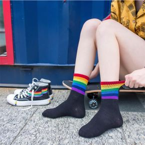 2-piece Colorful Striped Rainbow Tube Socks for Women