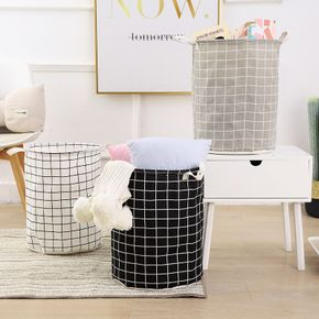 Cotton Linen Dirty Laundry Basket Foldable Round Waterproof Organizer Bucket Clothing Children Toy Large Capacity Storage Home