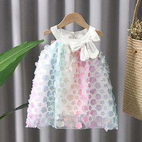 Toddler Girl Vivid Floral Embroidery Bowknot Decor Sleeveless Tulle Dress