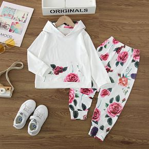 2-piece Toddler Girl Floral Print pocket Hoodie and Pants Casual Set