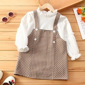 2-piece Toddler Girl Ruffled Long-sleeve White Blouse and Button Design Plaid Overall Dress Set