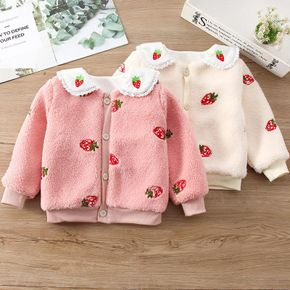 Toddler Girl Doll Collar Strawberry Embroidered Button Design Fuzzy Jacket Coat