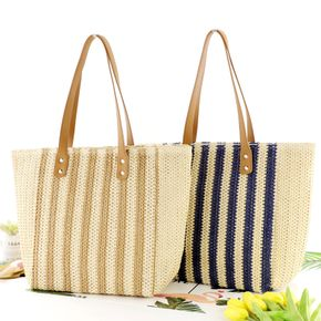 Contrast Vertical Stripes Straw Woven Bag Tote Bag
