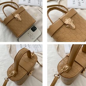 Floral Pattern Simple Solid Color Small Bucket Crossbody Bag for Women