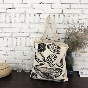 Plant Black and White Art Large Capacity Canvas Tote Shoulder Bag Canvas Shopping Bag
