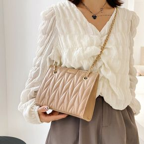Women Pure Color Geometry Lingge Textured Handbag Crossbody Shoulder Bag with Chain Strap