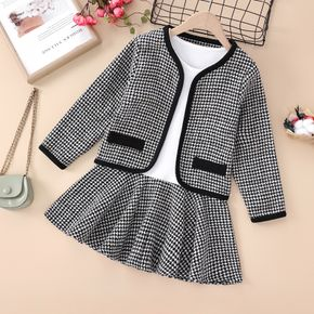 2-piece Kid Girl Houndstooth Cardigan and Long-sleeve Stitching Dress Set