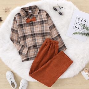 2-piece Kid Boy Bow tie Design Plaid Long-sleeve Shirt and Brown Pants Party Set