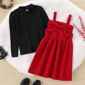 2-piece Kid Girl Mock Neck Black Base Layering Tee and Bowknot Design Overall Dress Set