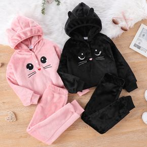 2-piece Kid Girl Cat Embroidered Button Design Fuzzy Hooded Sweatshirt and Solid Pants Set