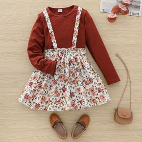 2-piece Kid Girl Round-collar Long-sleeve Ribbed Top and Floral Print Suspender Skirt Set