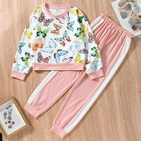 2-piece Kid Girl Butterfly Print Pullover Sweatshirt and Colorblock Pants Set