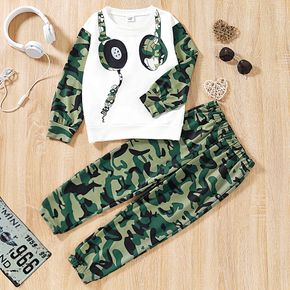 2-piece Kid Boy Headphone Camouflage Print Pullover and Elasticized Pants Set