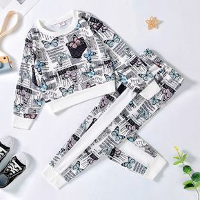2-piece Kid Girl Butterfly Letter Allover Print Pullover Sweatshirt and Pants Set