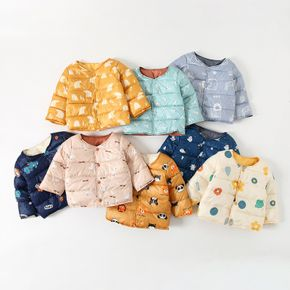 Cartoon Animal Print Baby Long Sleeve Thickened Lined Quilted Coat Outwear