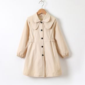 Kid Girl Doll Collar Button Design Waisted Trench Coat