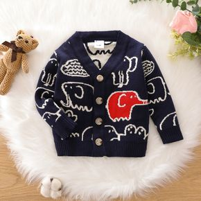 Baby Cartoon Elephant Pattern Button Down Long-sleeve Knitted Cardigan