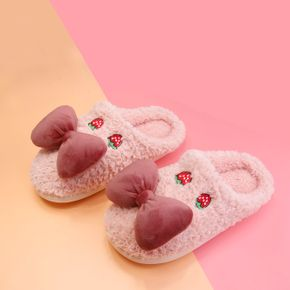 Bow Decor Strawberry Graphic Plush Slippers House Indoor Warm Plush Slippers