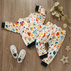 Baby 2pcs All Over Cartoon Graphic Print Long-sleeve Pullover and Trouser Set