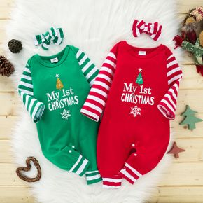 Baby 2pcs Christmas Letter Print and Striped Red Long-sleeve Jumpsuit Set