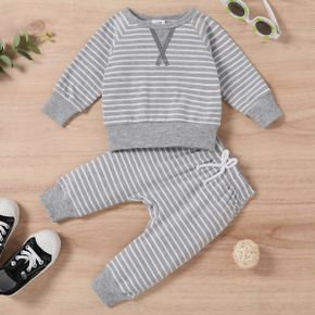 2pcs Baby All Over Striped Cotton Long-sleeve Pullover and Trousers Set