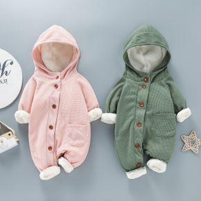Baby Thickened Fleece Lined Solid Long-sleeve Hooded Waffle Jumpsuit