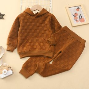 2-piece Toddler Girl/Boy Textured Solid Color Hoodie Sweatshirt and Pants Casual Set