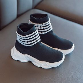 Toddler Black and White Two Tone Slip-on Flying Woven Sports Shoes