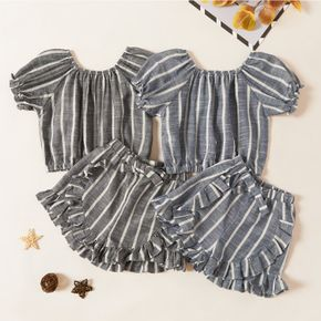 Kids Girl Striped Top and Ruffled Shorts Set