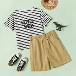 Trendy Kid Boy Stripe Letter Brother Print Pocket Shorts Casual Suits