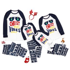 Family Matching Cool Glasses and Letter Print Christmas Pajamas Sets (Flame Resistant)