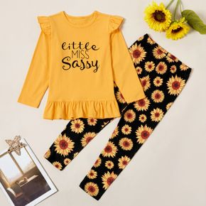 2-piece Kid Girl Letter Print Ruffled Long-sleeves Tee and Sunflower Allover Print Pants Set