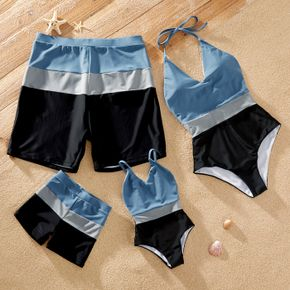 Colorblock Splice Family Matching Swimsuits(Neck Strap Design Swimsuits for Mom)