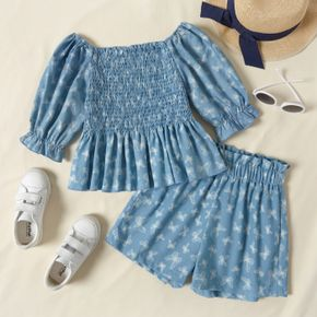 2-piece Kid Girl Off Shoulder Ruffle-sleeve Pleated Butterfly Print Top and Shorts Set