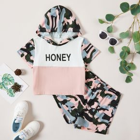 2pcs Kid Girl Short-sleeve Cotton Camouflage Shorts Suit casual Suits