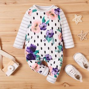Baby Floral Print Striped Jumpsuits
