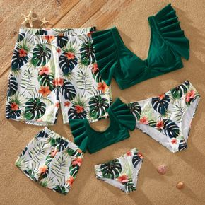 Leaf and Floral Print Family Matching Swimsuits