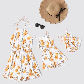 Floral Print Sleeveless Shorts Rompers