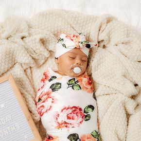 Allover Floral Baby Swaddle and Hat Set