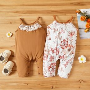 Solid and Floral Sleeveless Baby Sling Jumpsuit