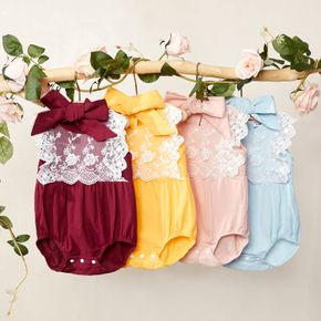 1pc Baby Girl Sleeveless Cotton  Sweet Rompers & Bodysuits