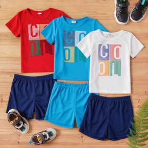 2-piece Kid Boy Letter Print T-shirt and Elasticized Solid Shorts Sporty Set