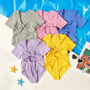Toddler Girl Bowknot Solid  Swimsuit