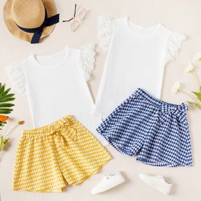 Kid Girl Lace Sleeve Solid Top Plaid Shorts Casual Set