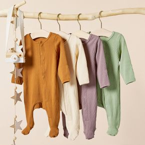 Ribbed Solid Footed Long-sleeve Baby Jumpsuit