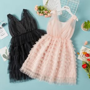 Kid Girl Sequined Bowknot Decor Princess Party Dress Layered Dress