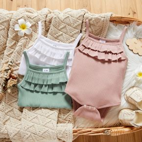 Solid Color Ruffle Neckline Ribbed Baby Sling Romper