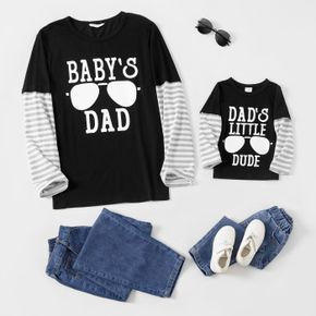 Letter and Stripe Print Splice Long-sleeve Matching Tees Tops